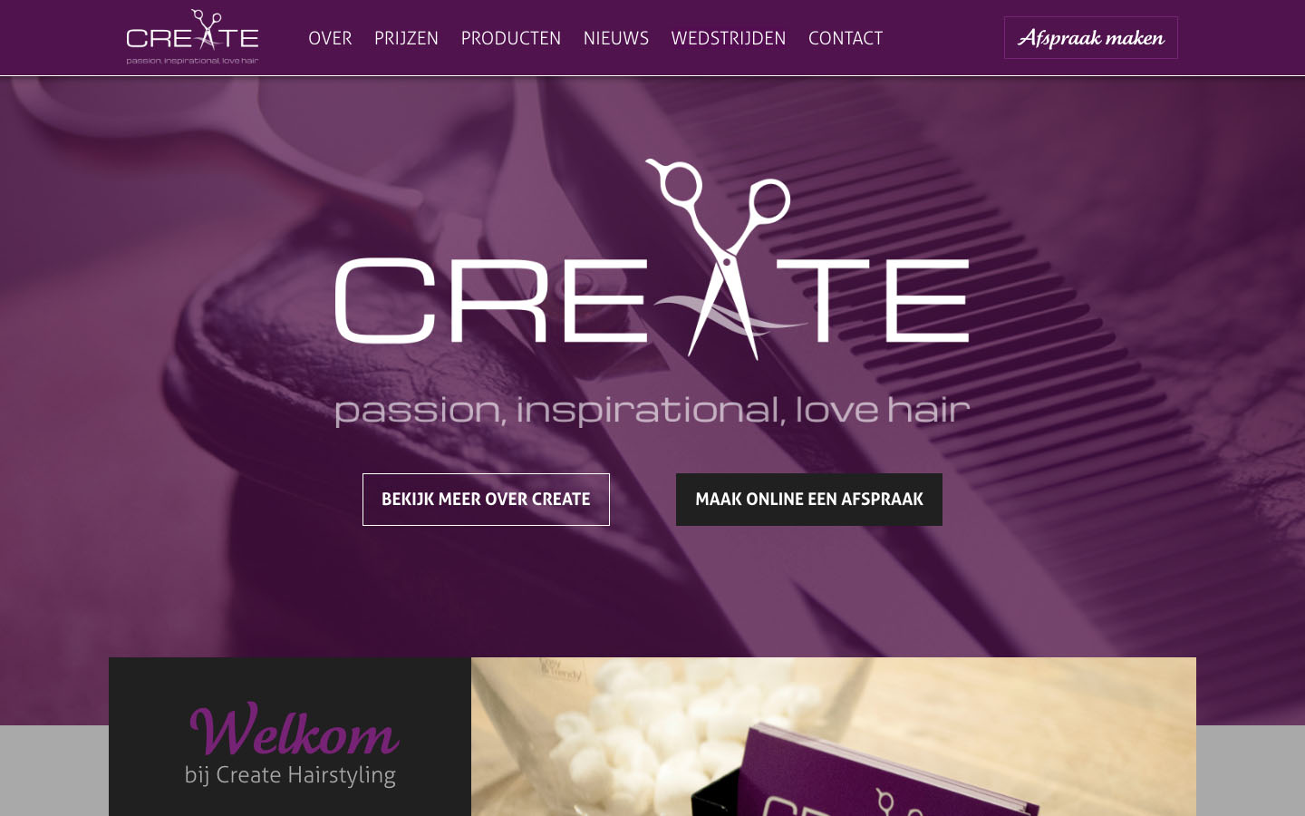 Studio29elf | Responsive website voor kapsalon in Aarle-Rixtel: Create Hairstyling