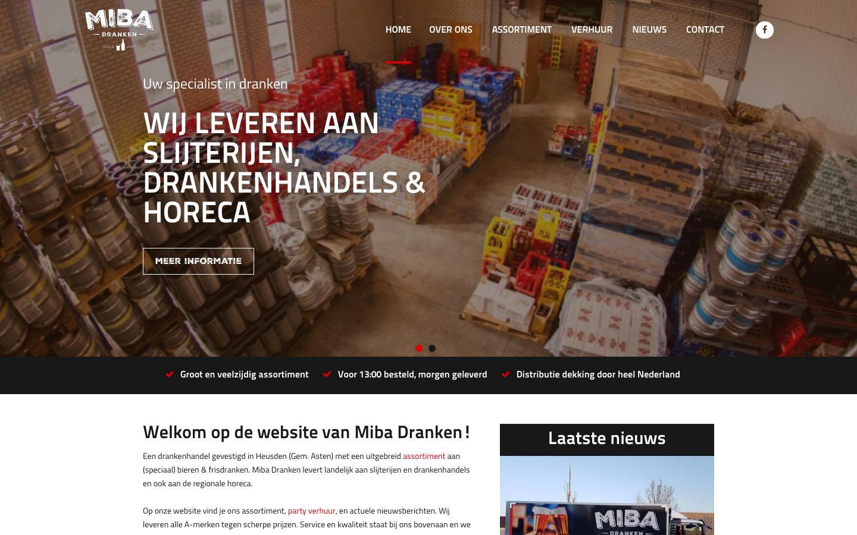 Studio29elf | Website met volledig eigen beheer voor drankenhandel Miba Dranken