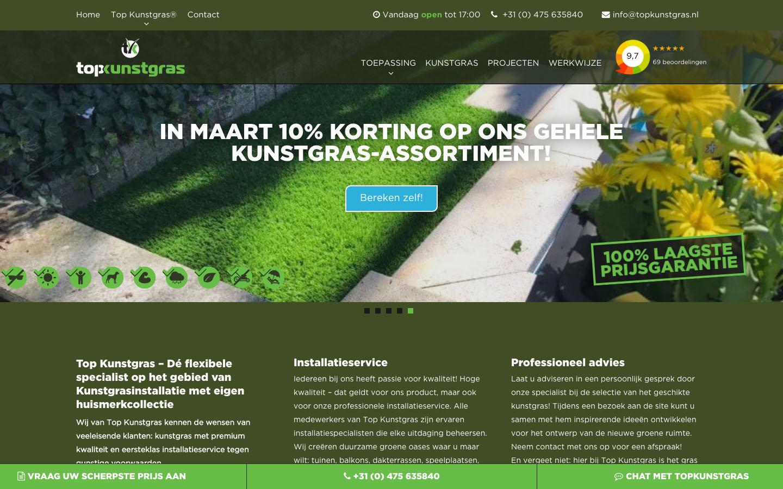 Studio29elf | Unieke responsive website voor de kunstgras marktleider: Topkunstgras